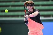 11th January 2018,  Kooyong Lawn Tennis Club, Kooyong, Melbourne, Australia; Priceline Pharmacy Kooyong Classic tennis tournament; Andrey Rublev of Russia returns the ball to Lucas Pouille of France