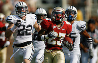 TALLAHASSEE, FL 9/18/10-FSU-BYU FB10 CH-Florida State's Chris Thompson busts loose for an 83-yard touchdown run against Brigham Young during first half action Saturday at Doak Campbell Stadium in Tallahassee. .COLIN HACKLEY PHOTO