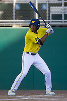 Michigan Wolverines outfielder Johnny Slater (25) at bat during the NCAA season opening baseball game against the Texas State Bobcats on February 14, 2014 at Bobcat Ballpark in San Marcos, Texas. Texas State defeated Michigan 8-7 in 10 innings. (Andrew Woolley/Four Seam Images)