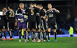 Wes Morgan of Leicester City and Marc Albrighton of Leicester City  celebrate at the end of the game<br /> - Barclays Premier League - Everton vs Leicester City - Goodison Park - Liverpool - England - 19th December 2015 - Pic Robin Parker/Sportimage