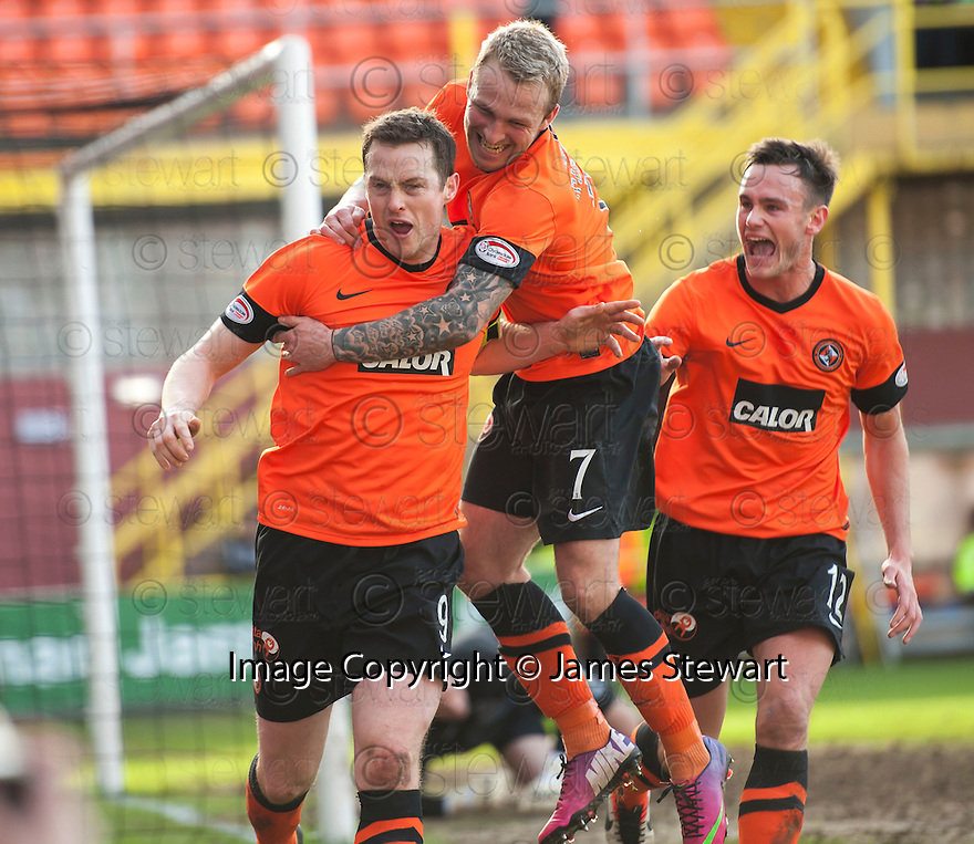 United's Jon Daly is congratulated by Johnny Russell after he scores united's second.