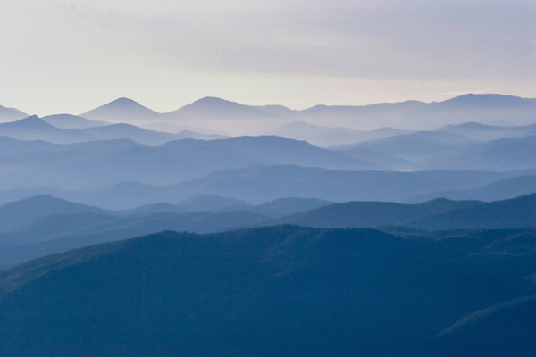 Backlit mountains viewed from Mount Evans, Colorado,
