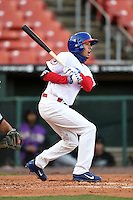 Buffalo Bisons second baseman Ryan Goins (10) during a game against the Louisville Bats on April 29, 2014 at Coca-Cola Field in Buffalo, New  York.  Buffalo defeated Louisville 4-1.  (Mike Janes/Four Seam Images)