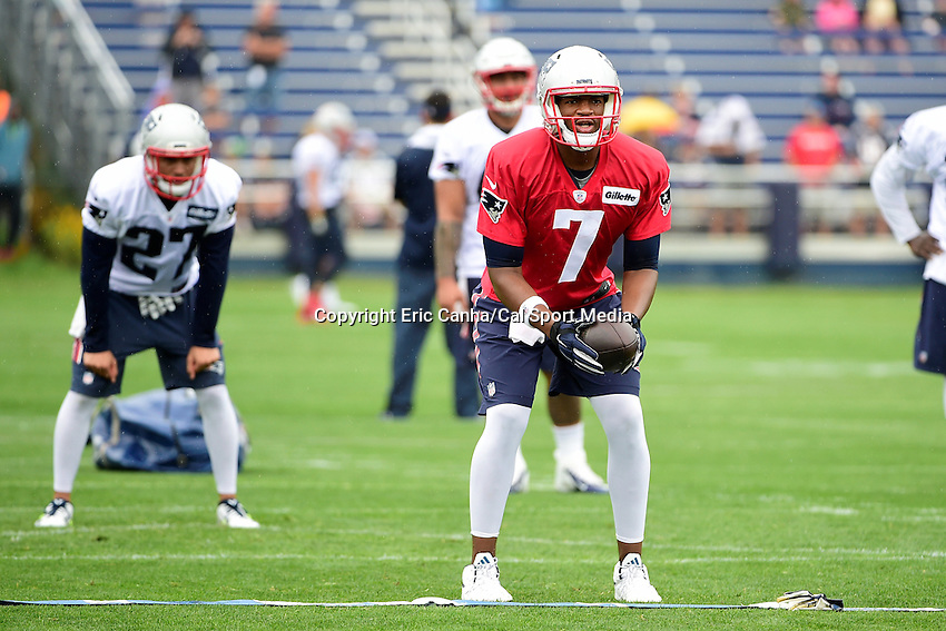Friday, July 29, 2016: New England Patriots quarterback Jacoby Brissett (7) works on a hand-off drill at the New England Patriots training camp held on the practice fields at Gillette Stadium in Foxborough Massachusetts. Eric Canha/CSM
