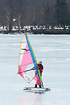 Ice sailing on Lake Quannapowitt, Wakefield, Massachusetts
