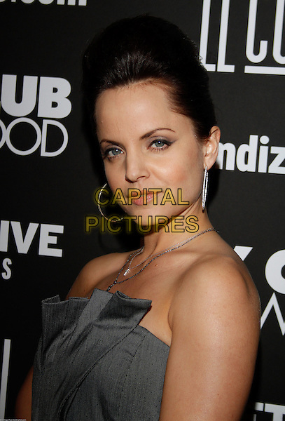 MENA SUVARI .At the Key Club Grand Re-Opening,West Hollywood, CA, USA,.29th January 2010..portrait headshot  grey gray dress strapless quiff hair hoop silver earrings .CAP/ADM/RAT.©Ratianda/Admedia/Capital Pictures