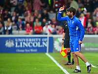 Lincoln City manager Danny Cowley shouts instructions to his team from the technical area<br /> <br /> Photographer Andrew Vaughan/CameraSport<br /> <br /> The EFL Sky Bet League Two Play Off First Leg - Lincoln City v Exeter City - Saturday 12th May 2018 - Sincil Bank - Lincoln<br /> <br /> World Copyright &copy; 2018 CameraSport. All rights reserved. 43 Linden Ave. Countesthorpe. Leicester. England. LE8 5PG - Tel: +44 (0) 116 277 4147 - admin@camerasport.com - www.camerasport.com