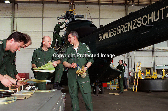 Members of the German military on arrival at Maputo airport with a rescue helicopter to aid the people suffering from Mozambique's worst floding in 50 years.  March-2000..Per Anders Pettersson/iAfrika Photos