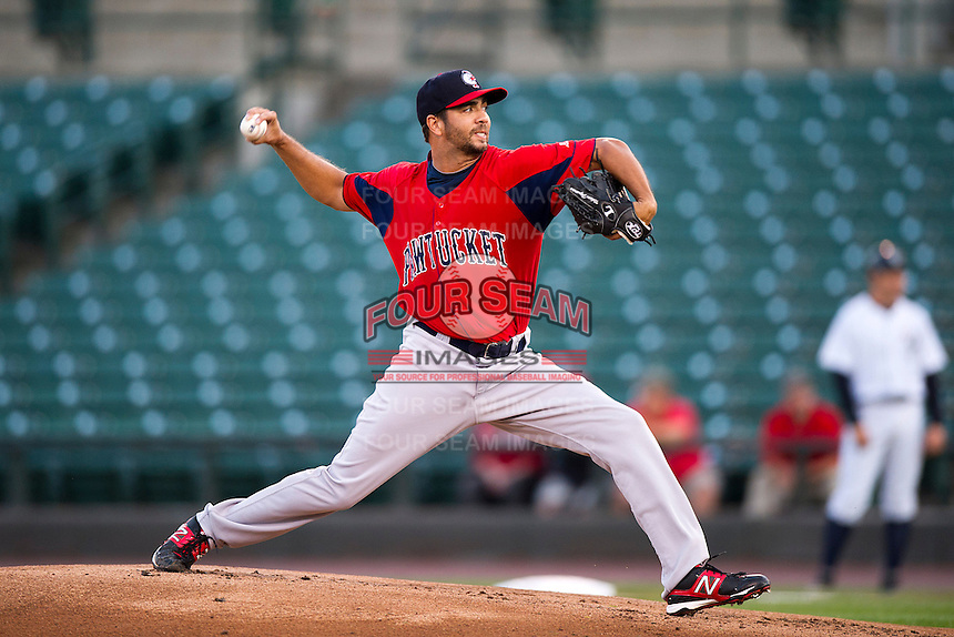Pawtucket Red Sox starting pitcher Nelson Figueroa #38 delivers a pitch during game four of a best of five playoff series against the Empire State Yankees at Frontier Field on September 8, 2012 in Rochester, New York.  Pawtucket defeated Empire State 7-1 behind Figueroa who went eight innings allowing only two hits and one run to advance to the International League Finals.  (Mike Janes/Four Seam Images)