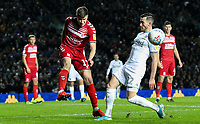 Middlesbrough's Paddy McNair clears under pressure from Leeds United's Jack Harrison<br /> <br /> Photographer Alex Dodd/CameraSport<br /> <br /> The EFL Sky Bet Championship - Leeds United v Middlesbrough - Saturday 30th November 2019 - Elland Road - Leeds<br /> <br /> World Copyright © 2019 CameraSport. All rights reserved. 43 Linden Ave. Countesthorpe. Leicester. England. LE8 5PG - Tel: +44 (0) 116 277 4147 - admin@camerasport.com - www.camerasport.com