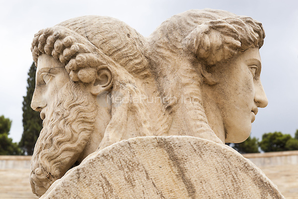 Stone heads of two sided herms inside Panathenaic Stadium, original modern day Olympic Stadium, Athens, Greece <br /> CAP/MEL<br /> &copy;MEL/Capital Pictures /MediaPunch ***NORTH AND SOUTH AMERICA ONLY***