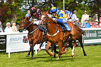 Winner of The Smith & Williamson Handicap (Class 6)     Ablaze (blue/yellow) ridden by Edward Greatex and trained by Laura Mongon during Afternoon Racing at Salisbury Racecourse on 17th May 2018