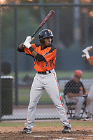 AZL Giants Orange center fielder Patrick Hilson (17) at bat during an Arizona League game against the AZL Athletics at Lew Wolff Training Complex on June 25, 2018 in Mesa, Arizona. AZL Giants Orange defeated the AZL Athletics 7-5. (Zachary Lucy/Four Seam Images)
