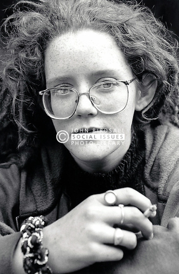 Young woman smoking, Nottingham UK 1990s