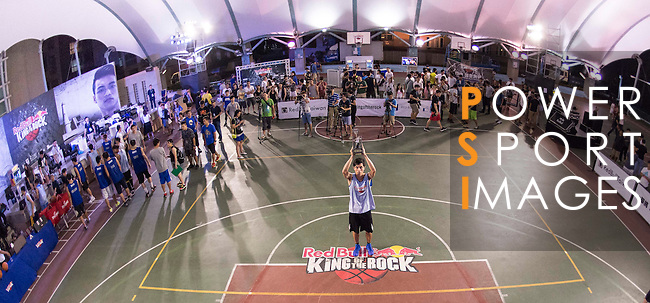 Huang Wei Hao 冠軍 黃暐 lifts the trophy after winning the Red Bull King of the Rock Taiwan National Finals on July 18, 2015 at the Kaohsiung University basketball court in Kaohsiung, south Taiwan. Photo by Victor Fraile / Power Sport Images