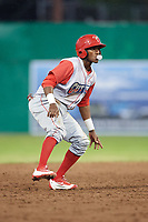 Williamsport Crosscutters center fielder Keudy Bocio (27) leads off second base during a game against the Batavia Muckdogs on June 22, 2018 at Dwyer Stadium in Batavia, New York.  Williamsport defeated Batavia 9-7.  (Mike Janes/Four Seam Images)