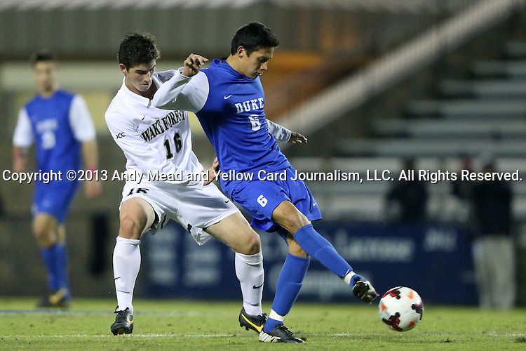 25 October 2013: Duke's Sean Davis (6) and Wake Forest's Ian Harkes (16). The Duke University Blue Devils hosted the Wake Forest University Demon Deacons at Koskinen Stadium in Durham, NC in a 2013 NCAA Division I Men's Soccer match. The game ended in a 2-2 tie after two overtimes.