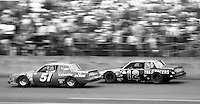 A.J. Foyt and Donnie Allison (12) battle during the Daytona 500, Daytona International Speedway, Daytona Beach, FL, February 15, 1981.  (Photo by Brian Cleary/www.bcpix.com)