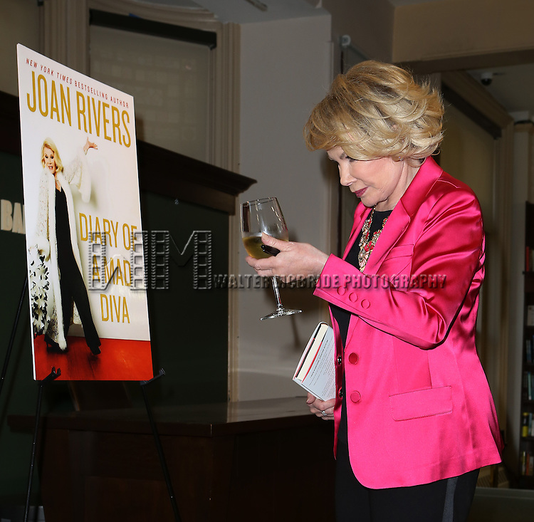"Joan Rivers visits Barnes & Noble Union Square to promote her latest book, ""Diary of a Mad Diva""  on June 30, 2014 in New York City."