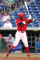 Clearwater Threshers Jiwan James #23 at bat during a game against the Daytona Cubs at Brighthouse Stadium on June 23, 2011 in Clearwater, Florida.  Clearwater defeated Daytona 6-5.  (Mike Janes/Four Seam Images)
