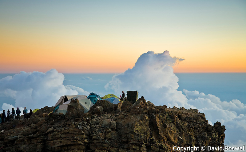 Barafu Camp, at 15,333 ft., stands above the clouds.  Barafu is the high camp before the attempt to summit Mount Kilimanjaro.