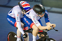 Picture by Alex Whitehead/SWpix.com - 02/03/2017 - Cycling - UCI Para-cycling Track World Championships - Velo Sports Center, Los Angeles, USA - Great Britain's Corrine Hall and Sophie Thornhill win Gold in the Women's B 3 km Individual Pursuit final.