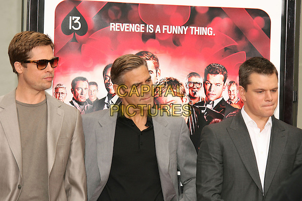 "BRAD PITT, GEORGE CLOONEY & MATT DAMON.""Ocean's Thirteen"" Handprint and Footprint Ceremony held  at Grauman's Chinese Theatre, Hollywood, California, USA..June 5th, 2007.half length grey gray beige suit jacket sunglasses shades .CAP/ADM/RE.©Russ Elliot/AdMedia/Capital Pictures"