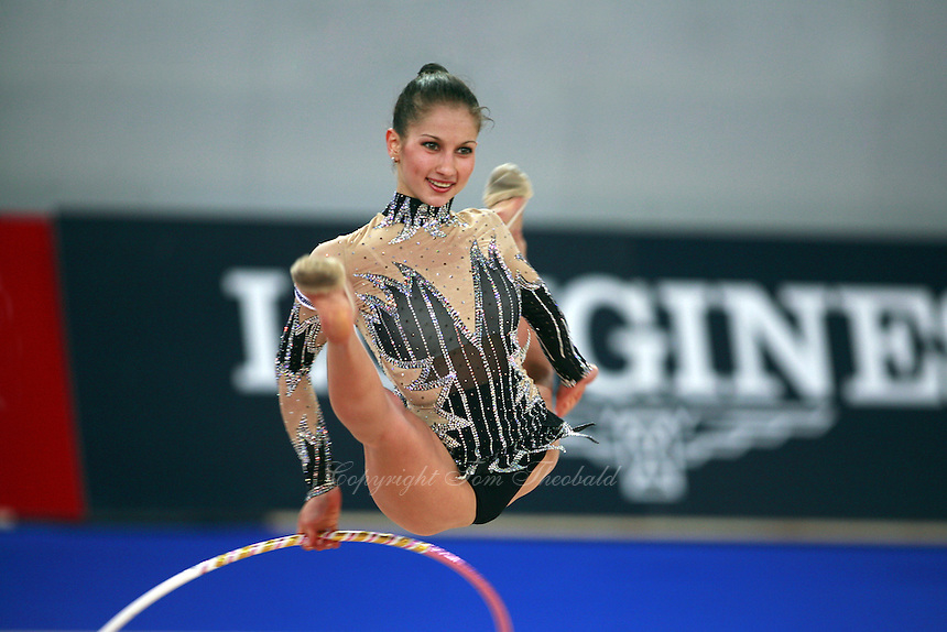 September 21, 2007; Patras, Greece;  Simona Peycheva of Bulgaria split leaps with hoop during All-Around final at 2007 World Championships Patras.  Simona placed 10th in the AA to  help Bulgaria to receive the 1st of 2 positions for the individual All-Around competition at Beijing 2008 Olympics.  Photo by Tom Theobald. .