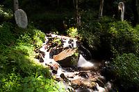 Sacred stone marking the presence of a river god, Shimosuwa, Nagano Prefecture, Japan