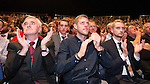 © Joel Goodman - 07973 332324 . 28/09/2016 . Liverpool , UK . JOHN MCDONNELL , SEB CORBYN , TOMMY CORBYN and BEN CORBYN sit for the Leader's Speech at the close of the final day of the Labour Party Conference at the ACC in Liverpool . Photo credit : Joel Goodman