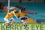 Kerry's Tomás Ó'Sé in action against Leitrim's Liam Ryan and Nicholas McWeeney. All Ireland Junior Championship Semi-Final, Kerry V Leitrim. 22/07/2017. Gaelic Grounds, Limerick, Co Limerick. Credit: Conor Wyse