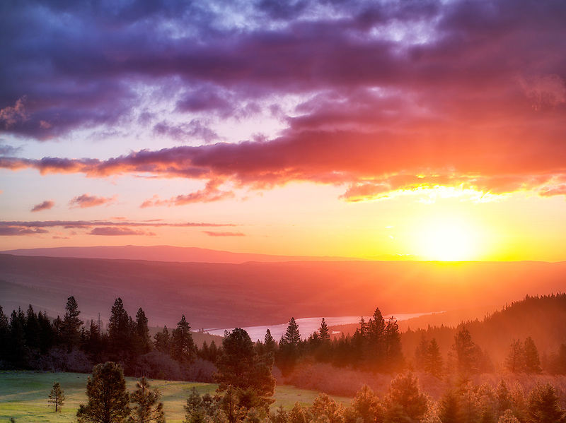Sunrise with Columbia River. Columbia River Gorge National Scenic Area, Oregon