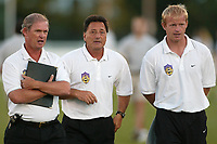 Assistant coach Paul LeSeuer, interim head coach Charlie Ducilli, and goa keeper coach at half time of the  August 7th loss to the Carolina Courage at Mitchel Athletic Complex, Uniondale, NY.