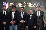 Mono Burgos (2L), Diego Pablo `Cholo´ Simeone (3L), Enrique Cerezo (2R) and Jose Luis Caminero (R) during Simeone´s contract renewal announcement as Atletico de Madrid´s coach until 2020, in Madrid, Spain. March 24, 2015. (ALTERPHOTOS/Victor Blanco)