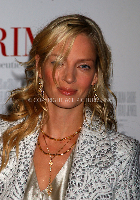 WWW.ACEPIXS.COM ** ** ** ....New York, October 20 2005....Uma Thurman at the premiere of 'Prime' at the Zeigfeld Theatre, New York City.....Please byline: Kristin Callahan -- ACE PICTURES... *** ***  ..Ace Pictures, Inc:  ..Craig Ashby (212) 243-8787..e-mail: picturedesk@acepixs.com..web: http://www.acepixs.com