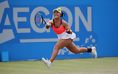 June 16th 2017, Nottingham, England; WTA Aegon Nottingham Open Tennis Tournament day 5;  Running forehand from Kristie Ahn of USA who was defeated in the quarter final by Magdalena Rybarikova of The Slovak Republic
