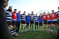 The Bath Rugby team huddle together after the match. Aviva Premiership match, between Bath Rugby and Harlequins on February 18, 2017 at the Recreation Ground in Bath, England. Photo by: Patrick Khachfe / Onside Images