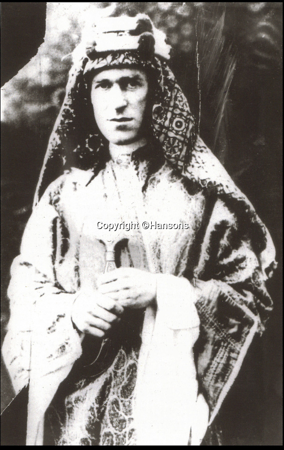 BNPS.co.uk (01202 558833)Pic: Hansons/BNPS<br /> <br /> Lawrence of Arabia.<br /> <br /> An extraordinary archive of items relating to legendary soldier Lawrence of Arabia has emerged...Including the desert hero's arabian sandals!<br /> <br /> The collection has come from Rodney Havelock Walker whose parents were friends of the enigmatic T E Lawrence and lived near his Clouds Hill home in Dorset.<br /> <br /> As well as the leather sandal's there is a early edition of the Seven Pillers of Wisdom, a school prize book presented to Lawrence in 1903 and a photograph of Cyrene taken by Lawrence before the war.<br /> <br /> Also included is a poignant christening picture of Rodney Havelock Walker on 10th November 1935, its annotated by his parents as being in Lawrence's own christening robes. The war hero had died in suspicious circumstances just 7 months earlier.<br /> <br /> Hansons - December 19th -  Est £3000.