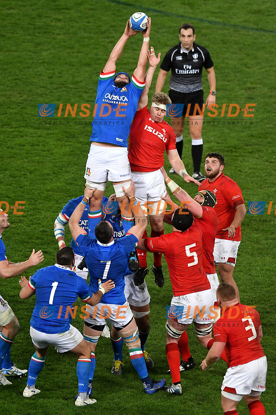Dean Budd Italy, Adam Beard Wales <br /> Roma 9-02-2019 Stadio Olimpico<br /> Rugby Six Nations tournament 2019  <br /> Italy - Wales <br /> Foto Andrea Staccioli / Resini / Insidefoto