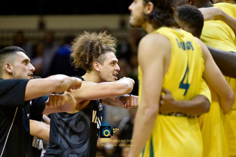 New Zealand Tall Blacks perform haka, FIBA Oceania Championship - New Zealand v Australia at TSB Arena, Wellington, New Zealand on Tuesday 18 August 2015.<br /> Photo by Masanori Udagawa. <br /> www.photowellington.photoshelter.com.