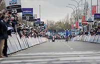 Yves Lampaert (BEL/QuickStep Floors) taking it all in whilst winning the biggest race of his career (so far) and this only a few kilometers from his home. <br /> <br /> 72nd Dwars Door Vlaanderen (1.UWT)<br /> 1day race: Roeselare &rsaquo; Waregem BEL (203.4km)