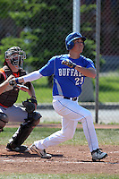 Buffalo Bulls outfielder Dan Scahill #29 at bat during a game against the Bowling Green Falcons at Amherst Audubon Field on May 17, 2012 in Amherst, New York.  Buffalo defeated Bowling Green 14-0.  (Mike Janes/Four Seam Images)