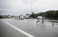 Daan Myngheer (BEL/VerandasWillems) &amp; Frederik Backaert (BEL/Wanty-Groupe Gobert) succeed in staying ahead of the peloton with less than 10km to go, as they hit the Big Brussels Ringway riding parallel with heavy traffic.<br /> <br /> Brussels Cycling Classic 2015
