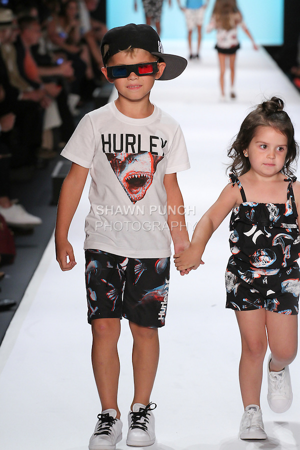 Image from the Hurley Spring Summer 2017 children's collection fashion show for Rookie USA runway show presented by Haddad Brands, during New York Fashion Week: The Shows in Skylight at Moynihan Station on September 8, 2016.
