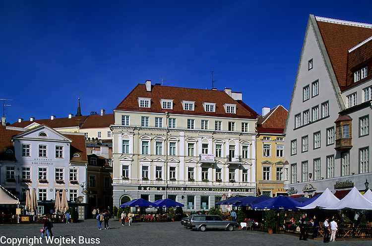 Estonia,Tallinn,Old Town ,Old Town and The Town Hall Square (Raekoja plats),Old houses,Europe,Travel