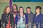 Reidun Schlesinger, Tadgh Buckley, Helen Pierce, Tim Buckley and Gillian Hughes enjoying the Rambling House in Fossa Community Centre on Friday night