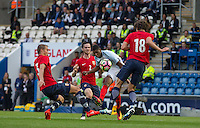 Marcus Rashford (Manchester United) of England scores his second goal during the International EURO U21 QUALIFYING - GROUP 9 match between England U21 and Norway U21 at the Weston Homes Community Stadium, Colchester, England on 6 September 2016. Photo by Andy Rowland / PRiME Media Images.
