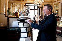 Gianpaolo Lauritano, from Naples, buys a caffe sospeso at Caffe Gambrinus, Naples, Italy