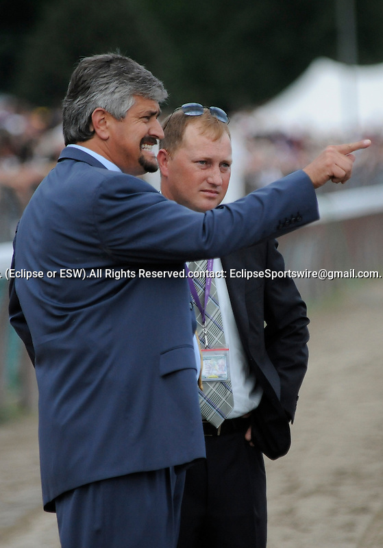 09 August 08: Trainer Steve Asmussen and his assistant Scott Blasi, try to figure out what went wrong as Heart Ashley was beaten by Flashing in the grade1 Test Stakes for three year old fillies at Saratoga Race Track in Saratoga Springs, New York.