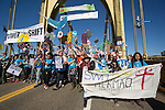 The Powershift march on the Roberto Clemente bridge in Pittsburgh. Over six thousand young people from all over the country are converging in Pittsburgh, PA for Power Shift 2013, a massive training dedicated to bringing about a safe planet and a just future for all people. (Photo by: Robert van Waarden)